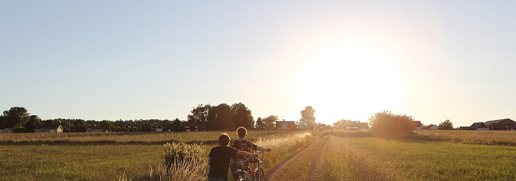 Mother and son walking with bicycles on a country road surrounded by barley fields at sunset.